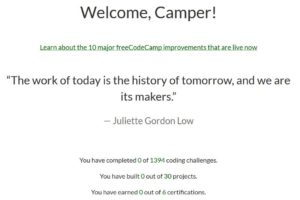 1st Day of freeCodeCamp