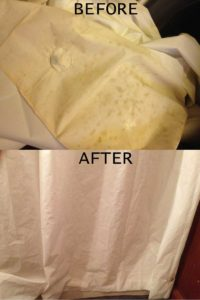 Before and after of cleaning a shower curtain
